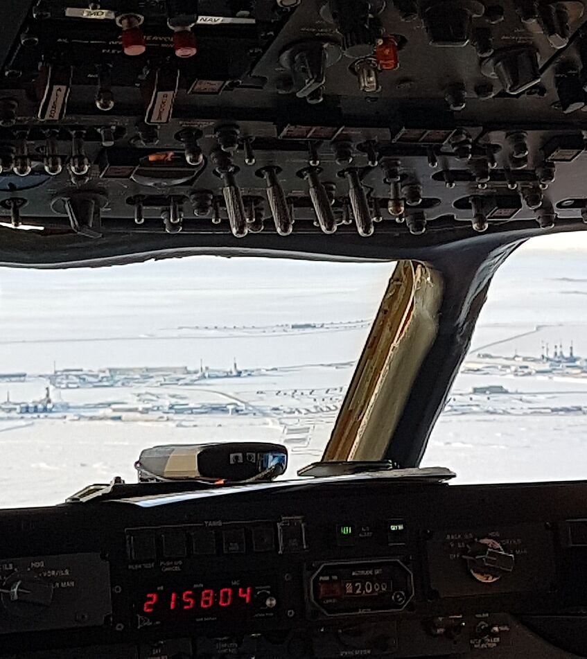 Cockpit view during the low approach to Deadhorse.