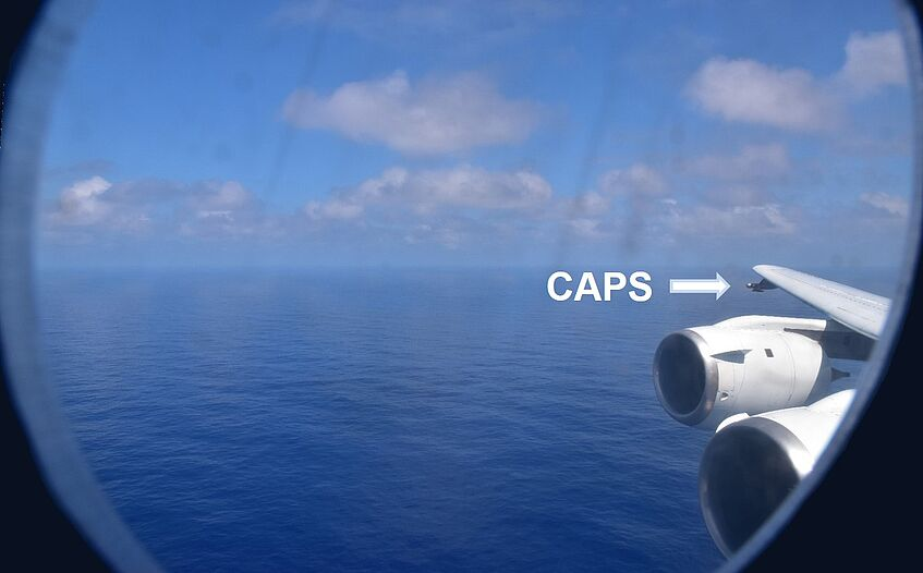 CAPS seen from the front window of the aircraft