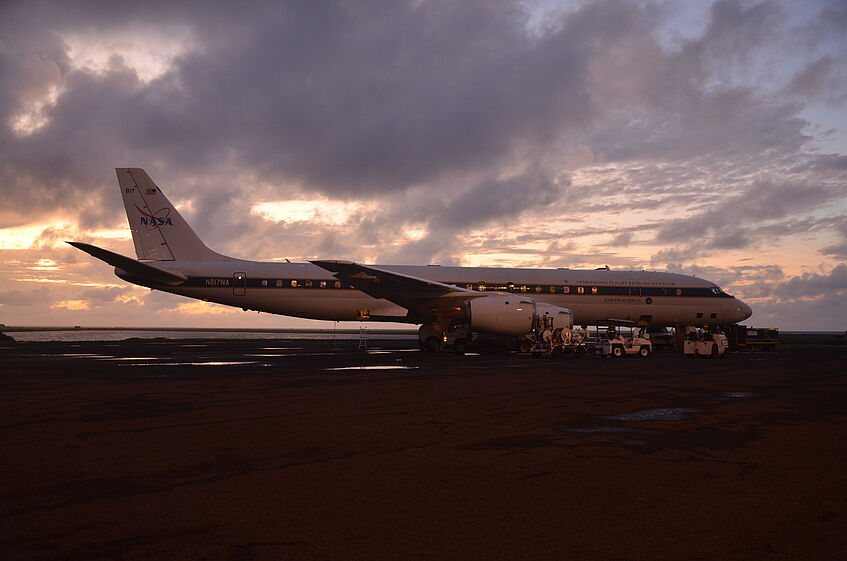DC-8 before take-off at Pago Pago, American Samoa