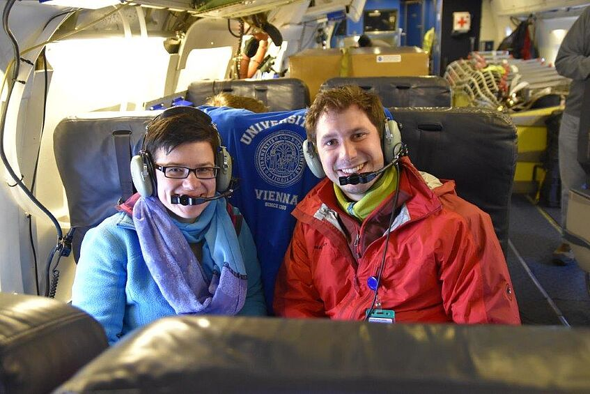 Bernadett Weinzierl (left) and Maximilian Dollner (right) in the DC-8