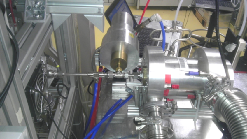 Fig. 4 The Vienna UDMA connected to the Frankfurt CI-APi-TOF-MS (Chemical Ionization Atmospheric Pressure interface Time-Of-Flight Mass Spectrometer) during a measurement campaign in March 2015. The UDMA was used as supply of ionic calibration clusters of